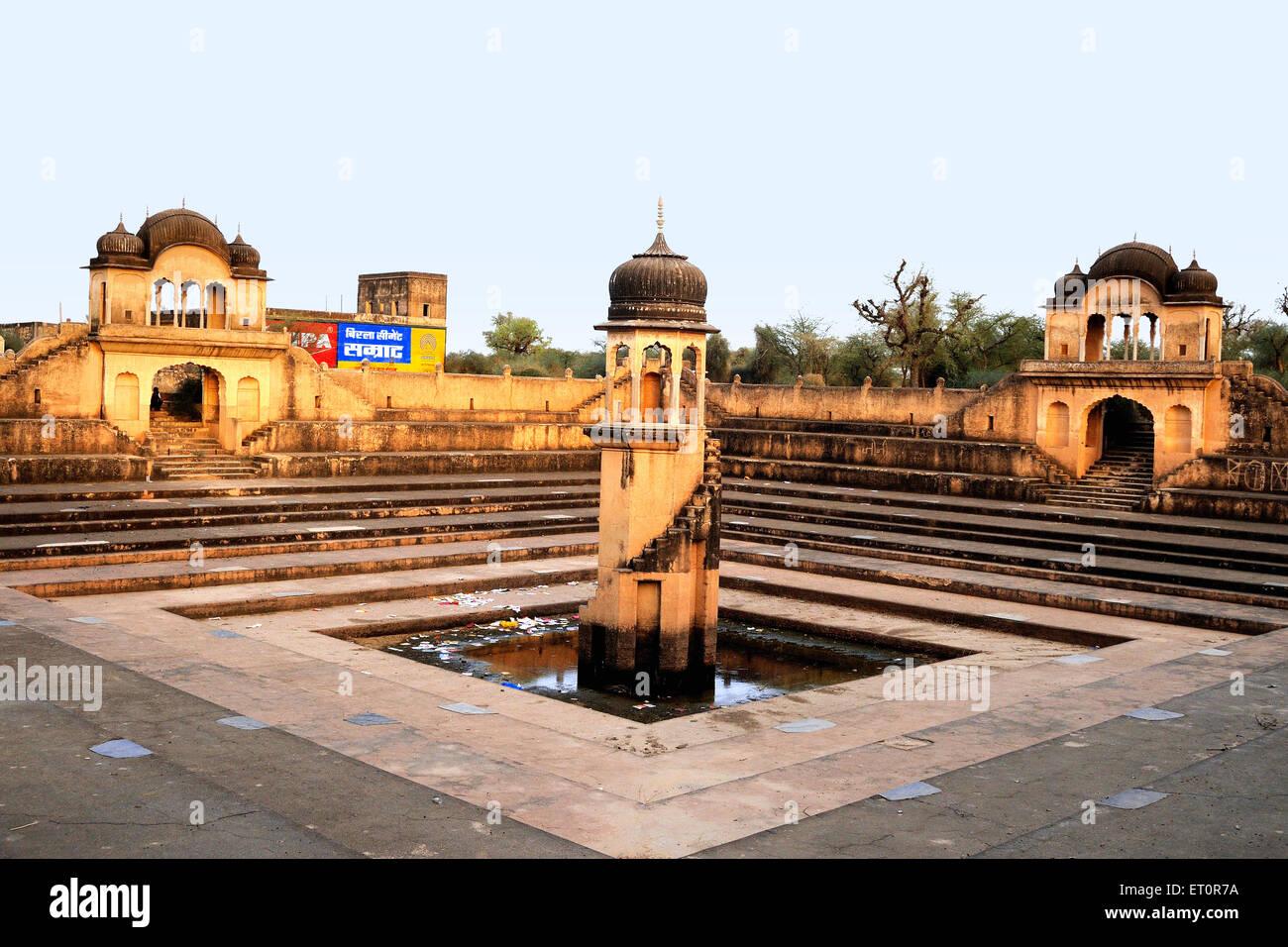 View of vacant pond ; Fatehpur Shekhavati ; Rajasthan ; India - Stock Image