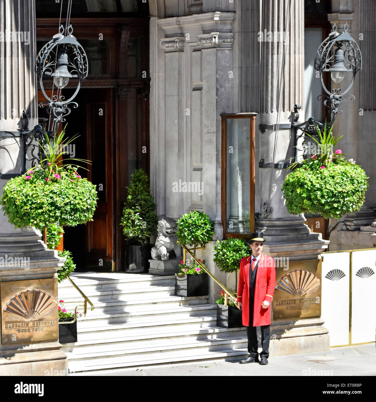 Doorman outside the Mandarin Oriental Hotel Hyde Park Knightsbridge London England UK - Stock Image