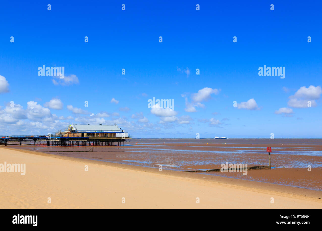 Cleethorpes pier and beach - Stock Image