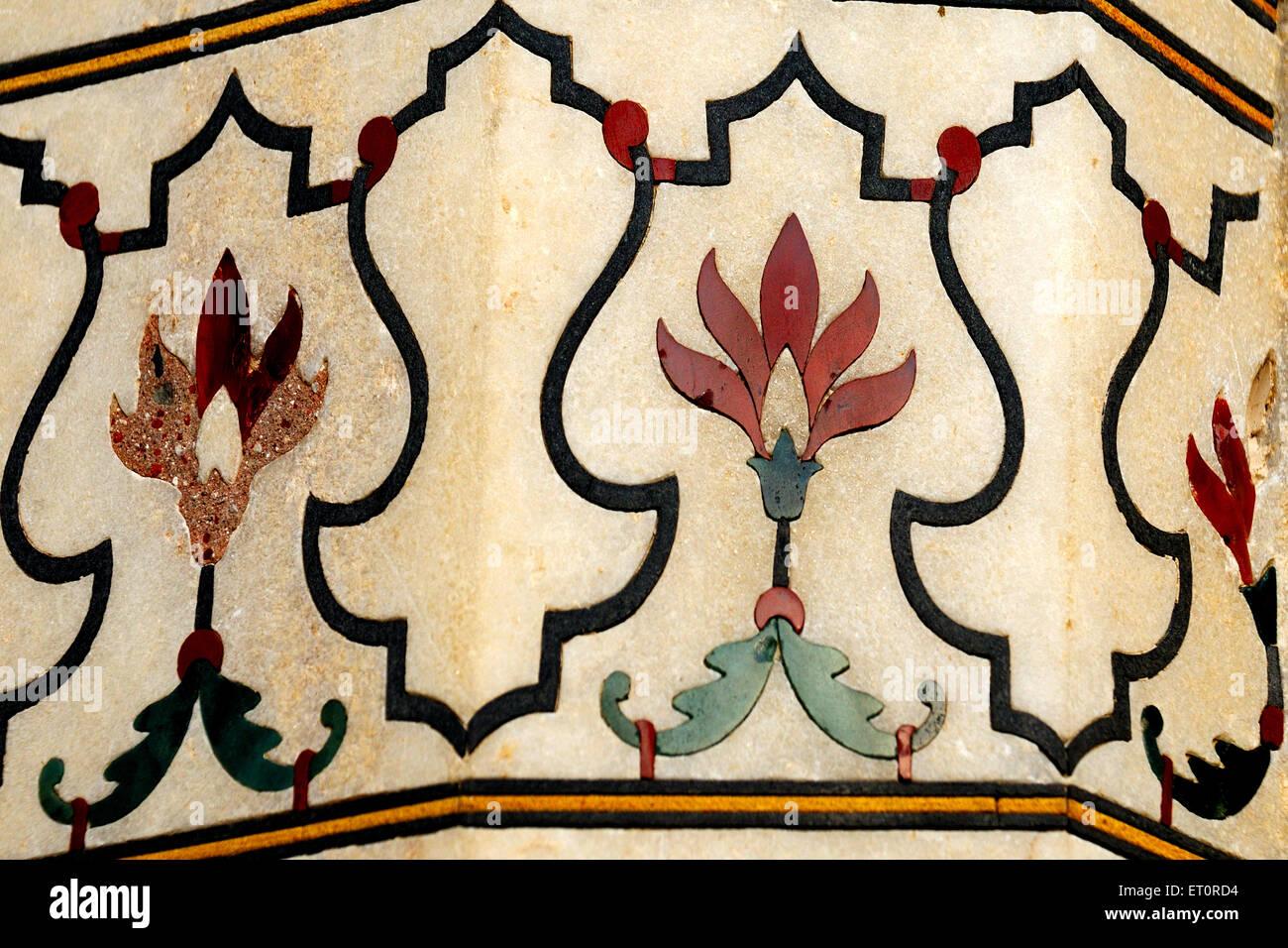 Floral patterns on Taj mahal ; Agra ; Uttar Pradesh ; India - Stock Image