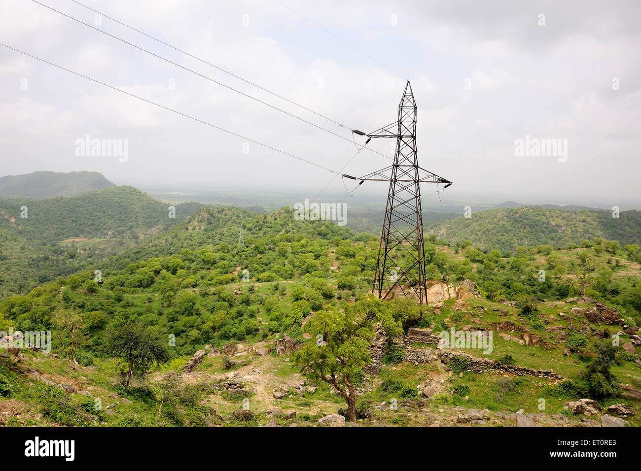 Electricity poll on hilly area ; India - Stock Image