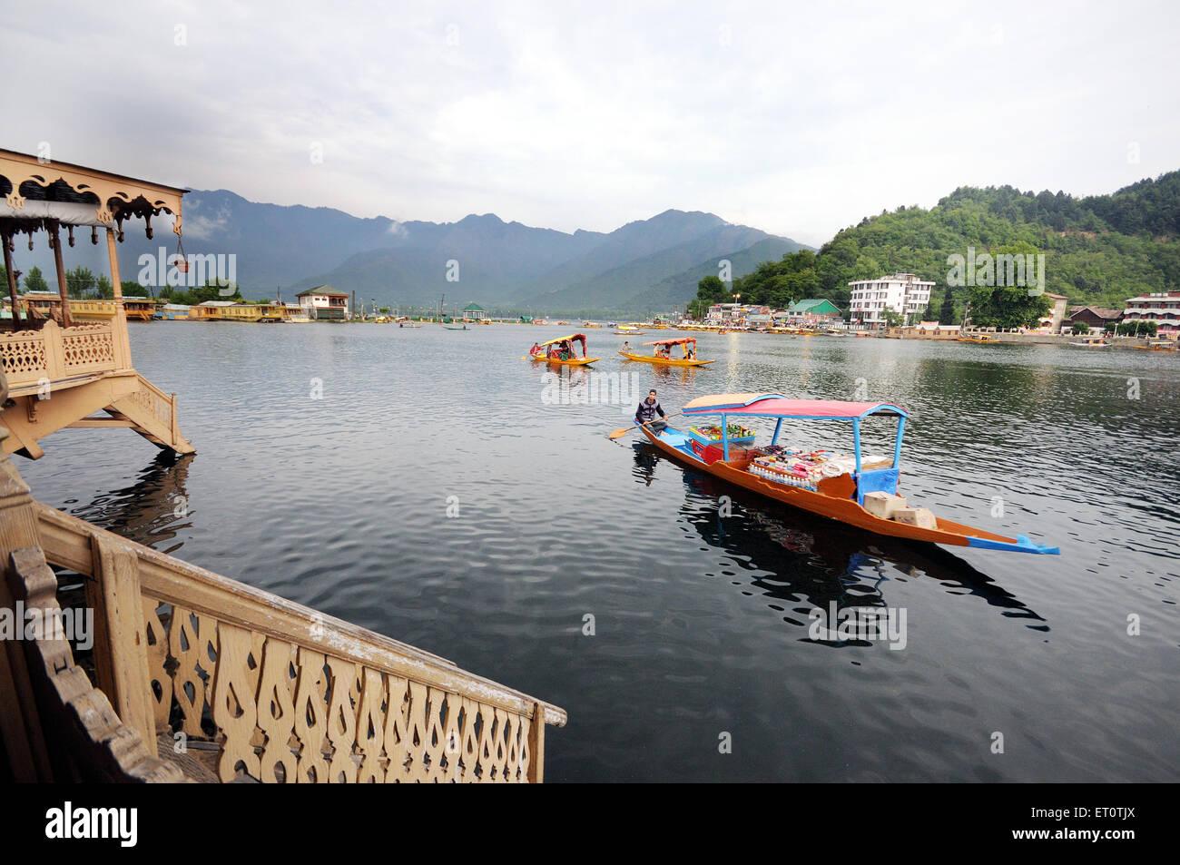 Canoe shikaras in dal lake ; Srinagar ; Jammu and Kashmir ; India - Stock Image