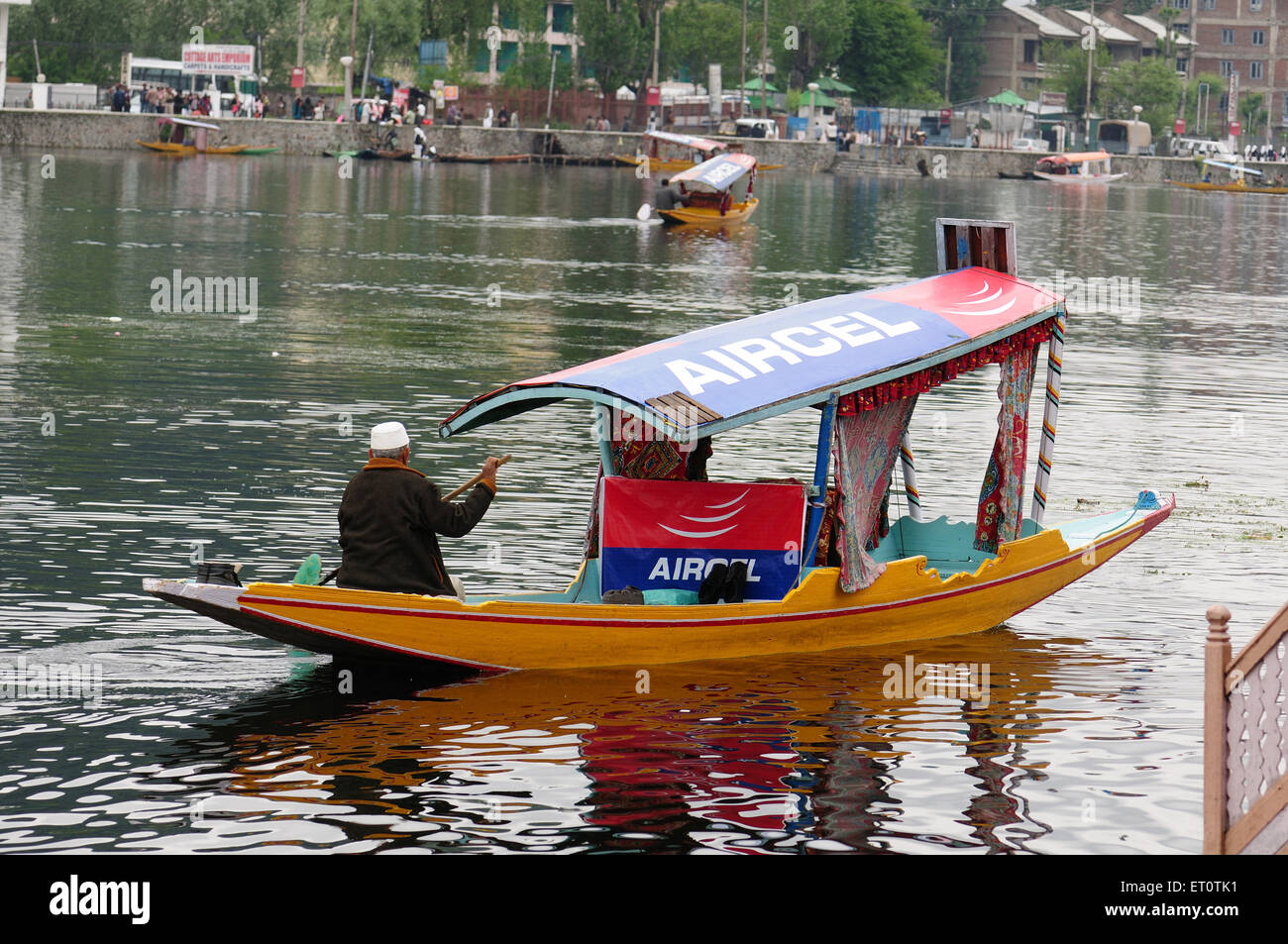 Canoe shikara in dal lake ; Srinagar ; Jammu and Kashmir ; India - Stock Image