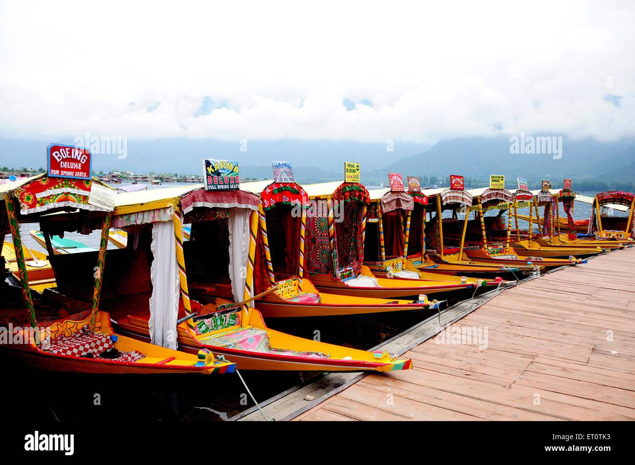 Canoe shikaras at dal lake ; Srinagar ; Jammu and Kashmir ; India - Stock Image