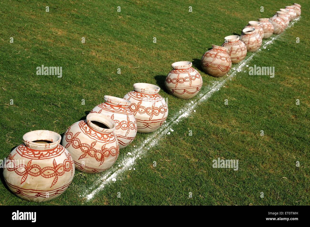 Painted water pot ; India - Stock Image