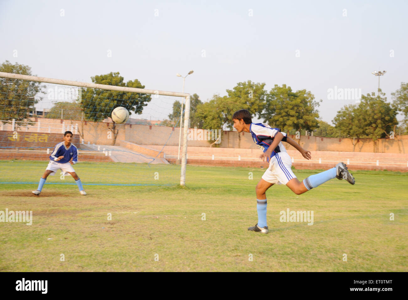 Head kick in soccer match ; Jodhpur ; Rajasthan ; India Mr#786 - Stock Image