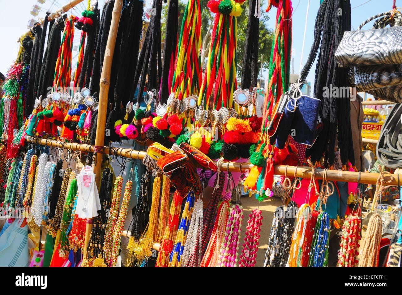 Shop of ladies item in pushkar fair ; Rajasthan ; India - Stock Image