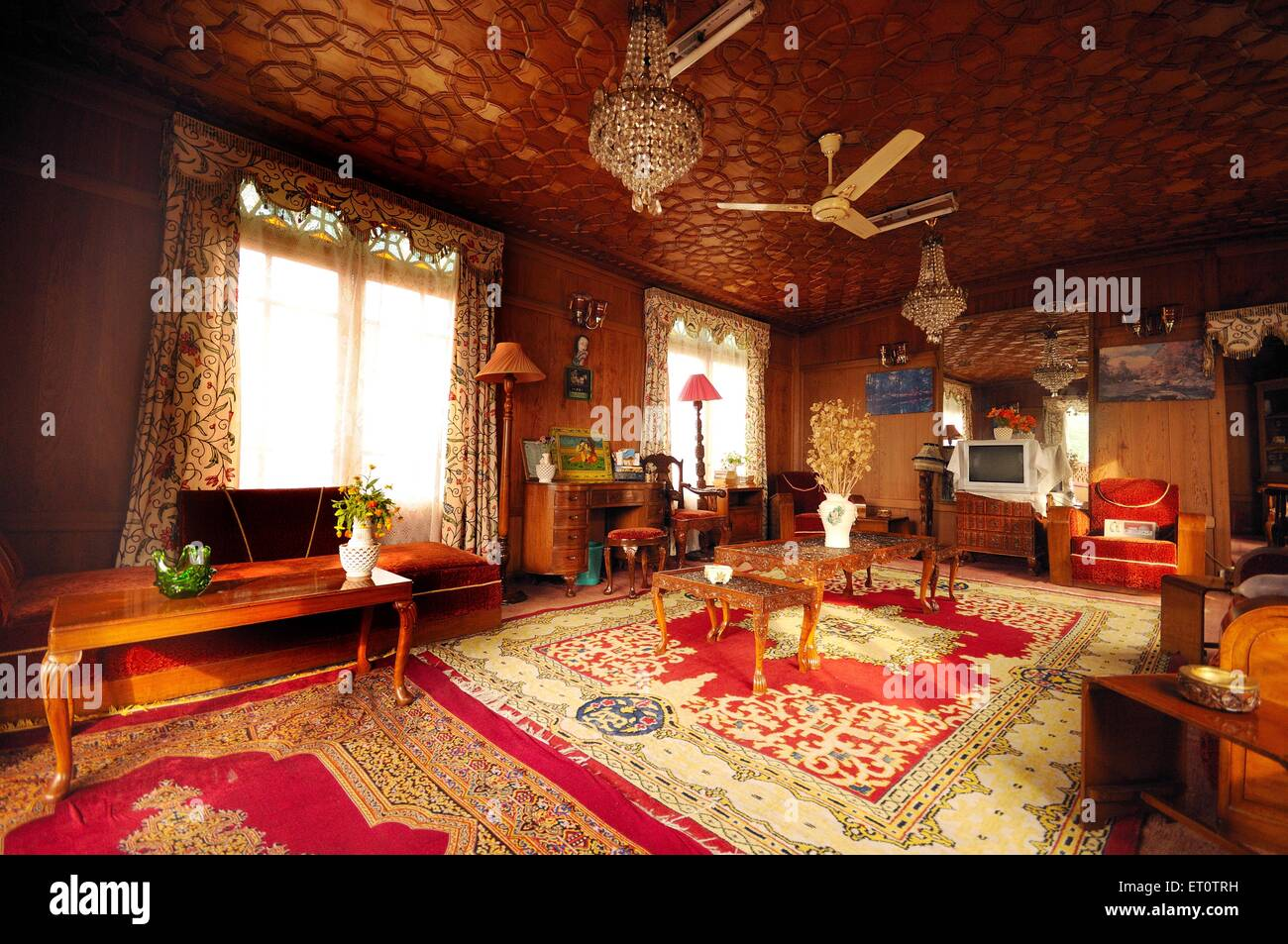 Interior of houseboat ; Srinagar ; Jammu and Kashmir ; India - Stock Image