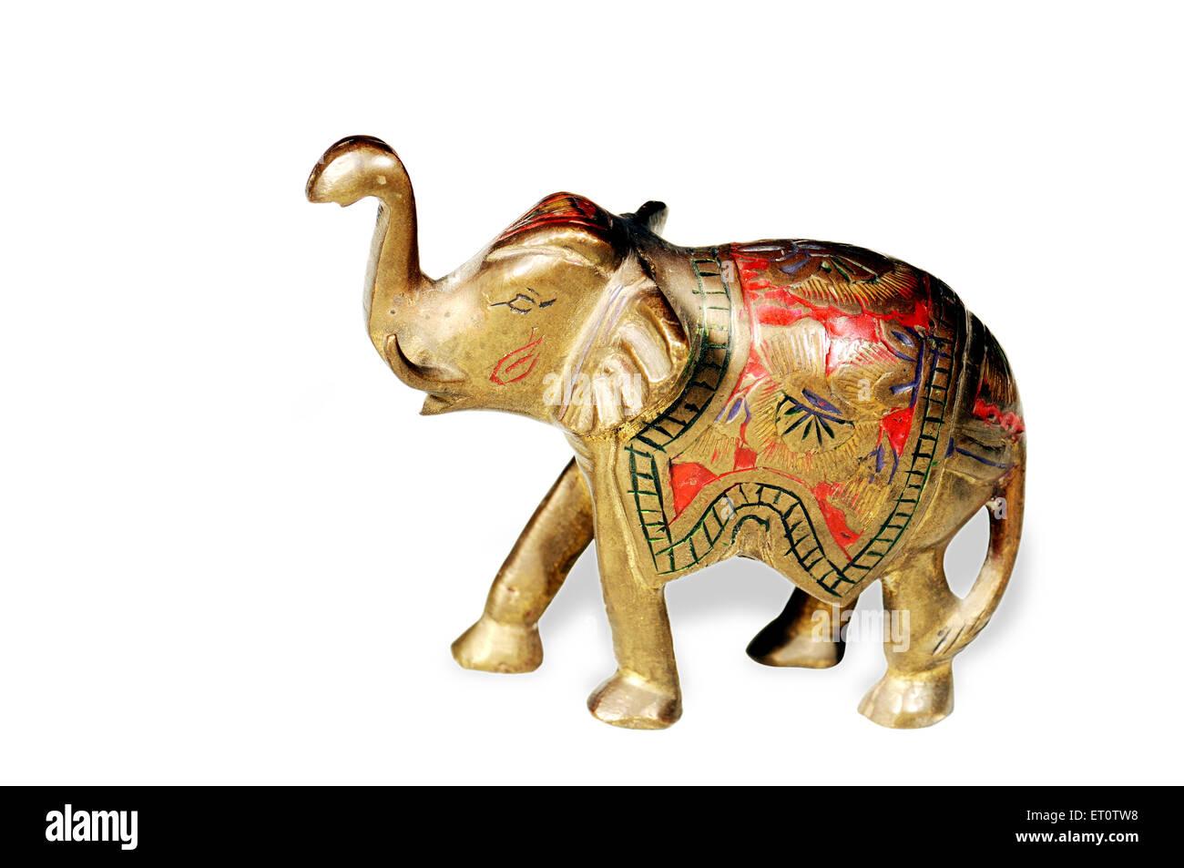 Handicraft ; elephant on white background ; India - Stock Image