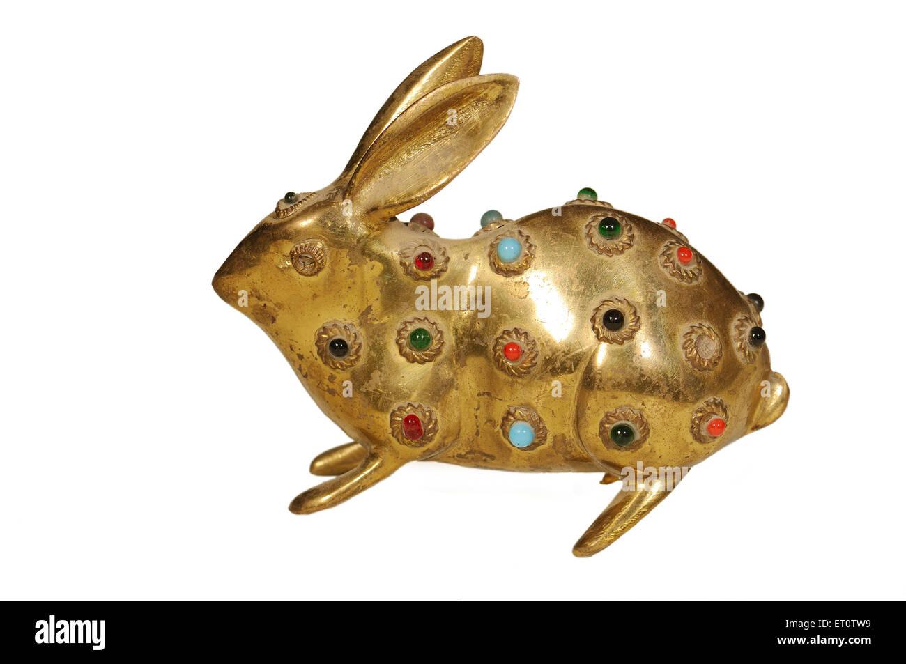 Handicraft ; rabbit on white background ; India - Stock Image