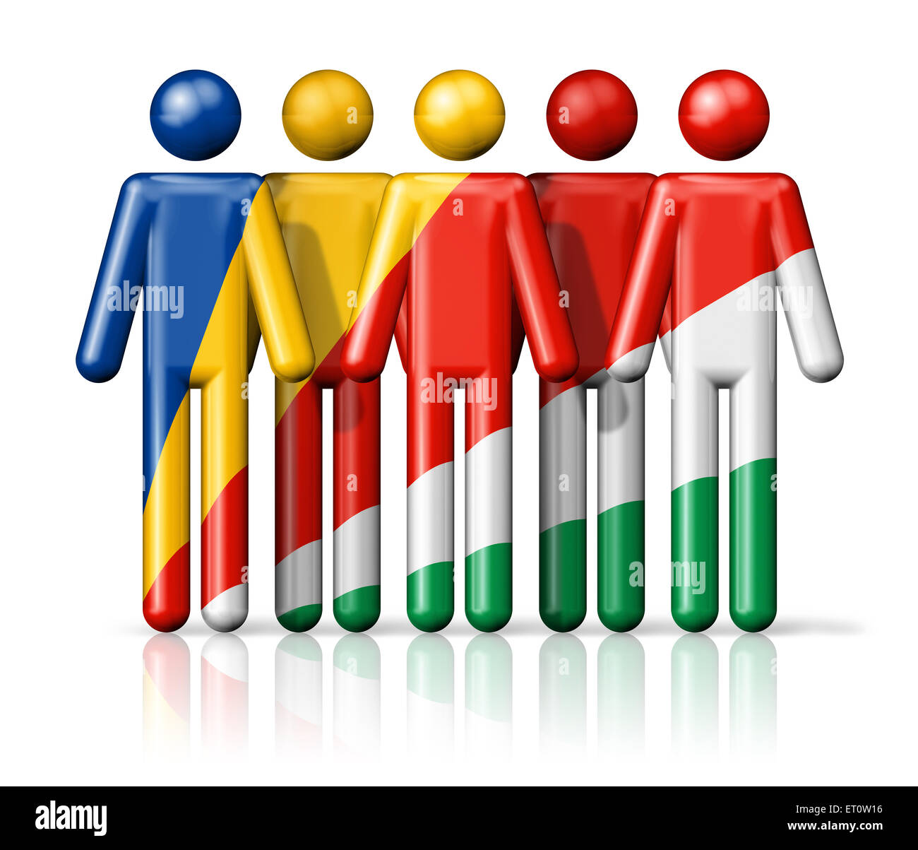 Flag of Seychelles on stick figure - national and social community symbol 3D icon - Stock Image