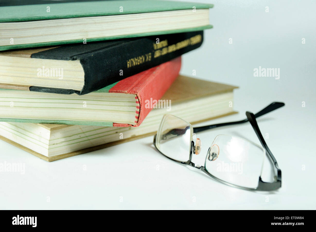 books and spectacles concept of reading India Asia - Stock Image