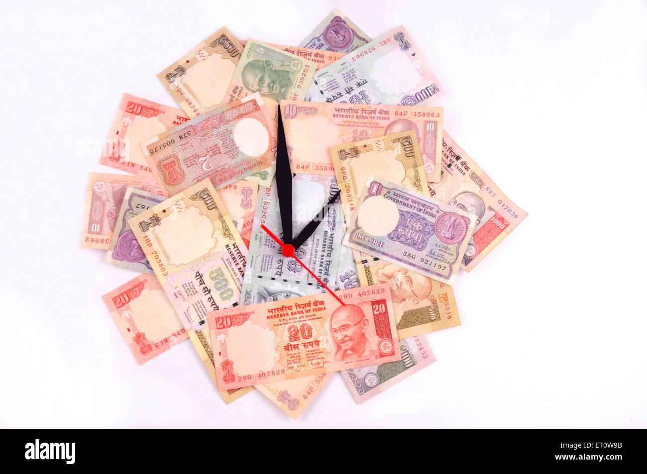 wall clock with dial of Indian Rupee paper money currency - Stock Image