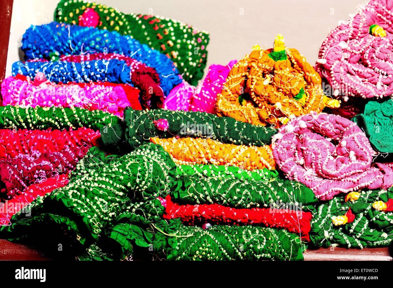 Rajasthani bandhej textiles ; Rajasthan ; India Stock Photo