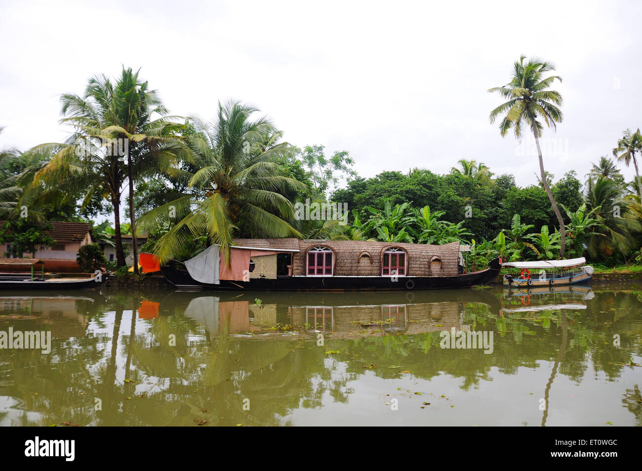 House boat in back water area ; Ernakulum ; Kerala ; India - Stock Image