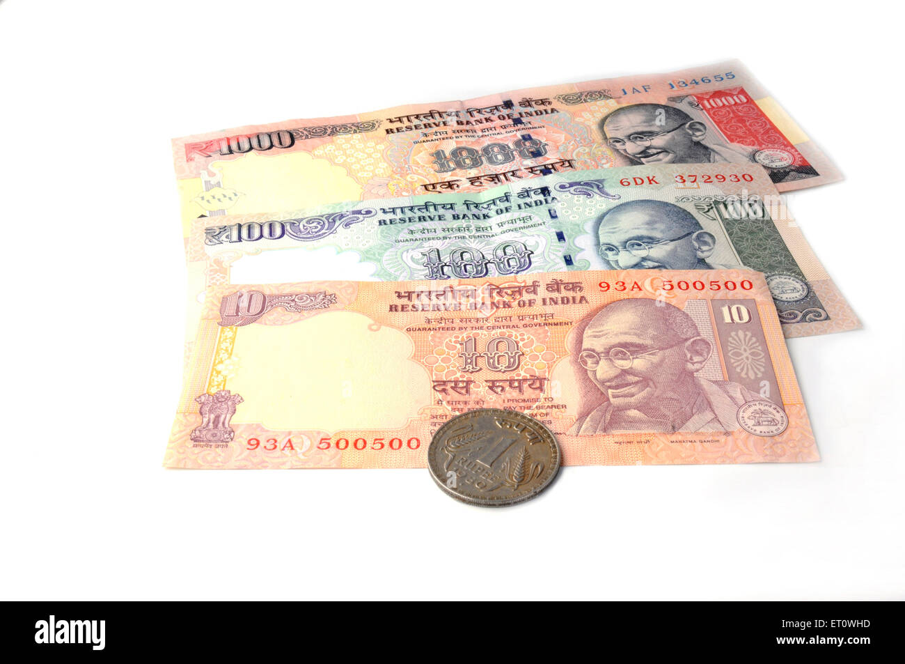 concept of indian currency notes and coin - Stock Image