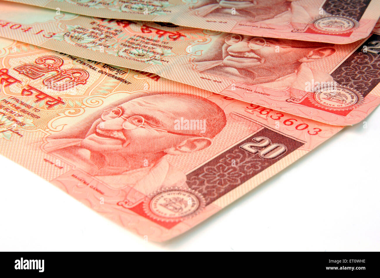 concept of indian currency twenty rupee notes - Stock Image