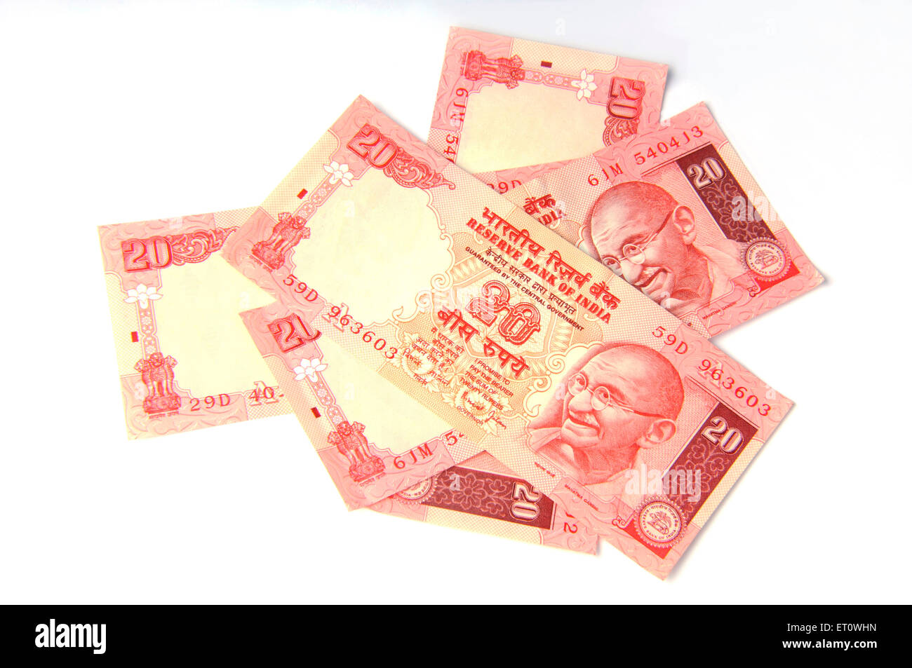 concept of Indian Currency twenty rupee note - Stock Image