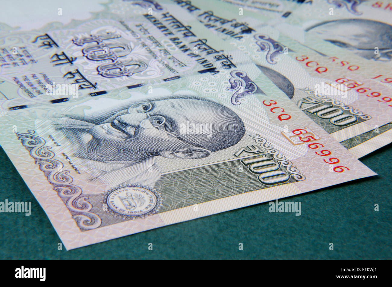 concept of Indian currency one hundred rupee notes - Stock Image