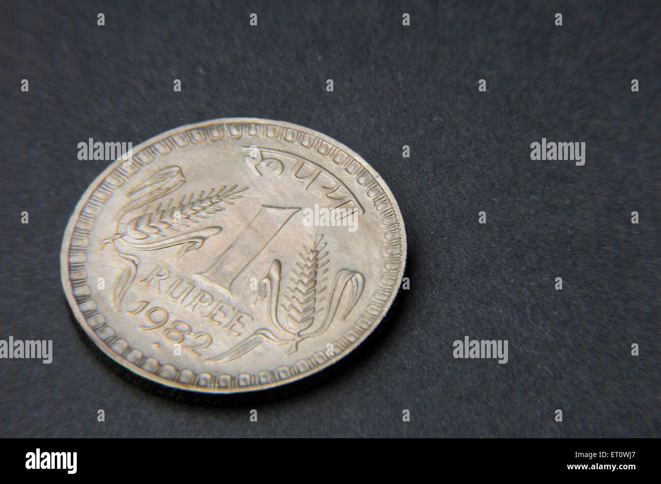 concept of Indian currency one rupee coin - Stock Image