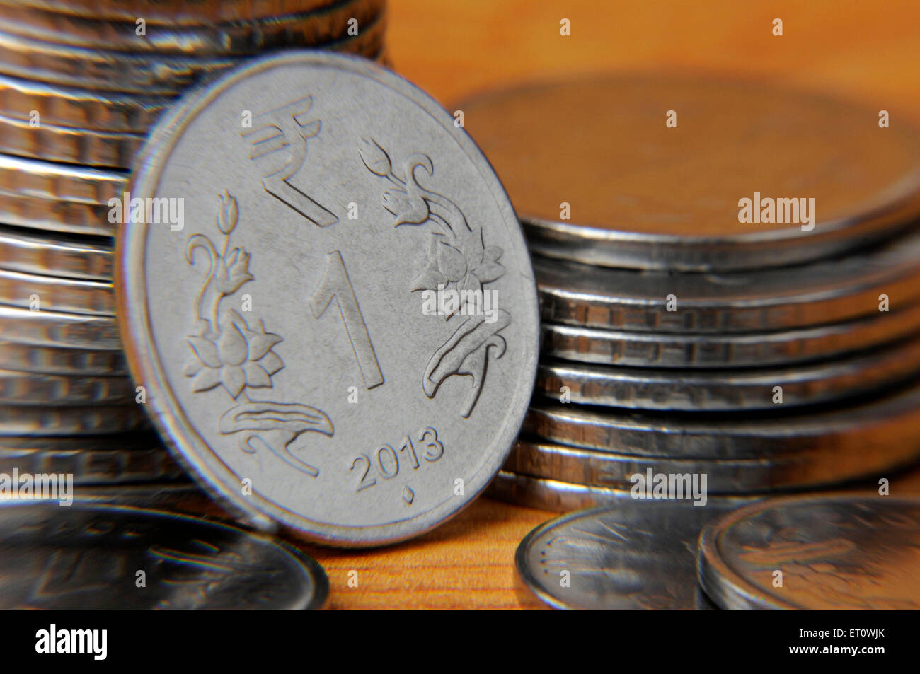 Concept of Indian coin one Rupee - Stock Image