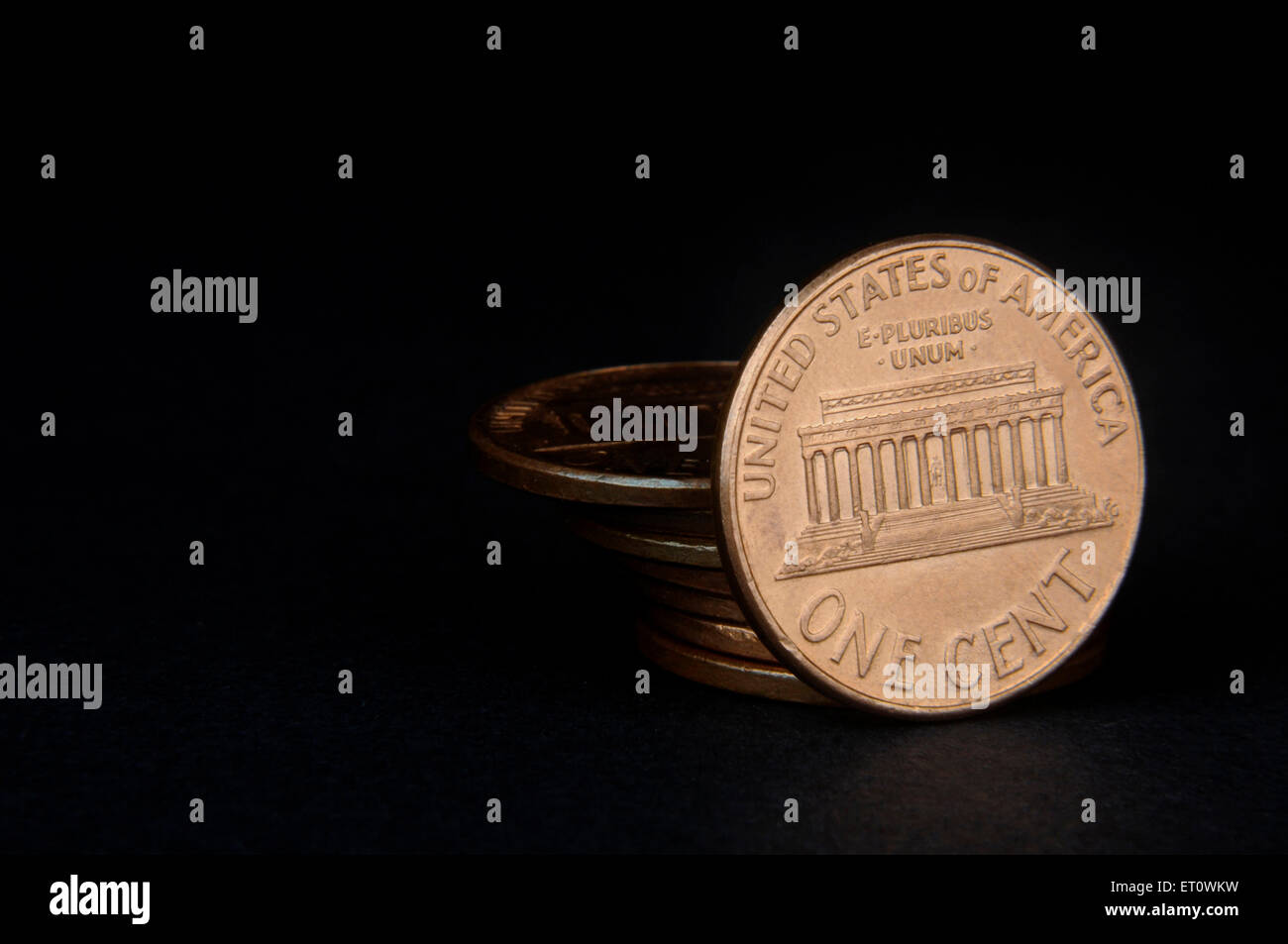 concept of one American cent coin penny - Stock Image
