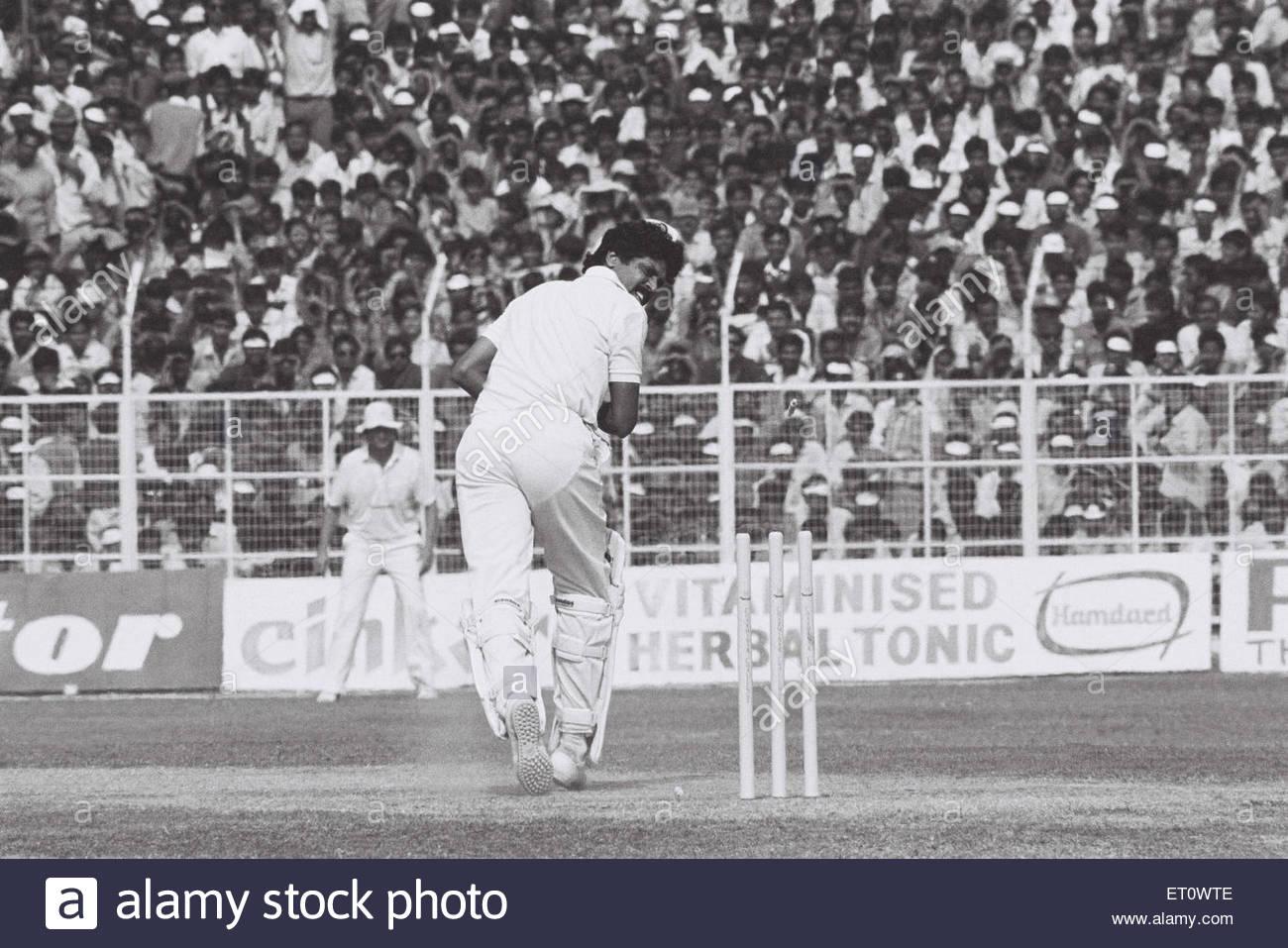 Kapil Dev ; India versus South Africa cricket match ; 1991 ; Gwalior ; Madhya Pradesh ; India NOMR - Stock Image