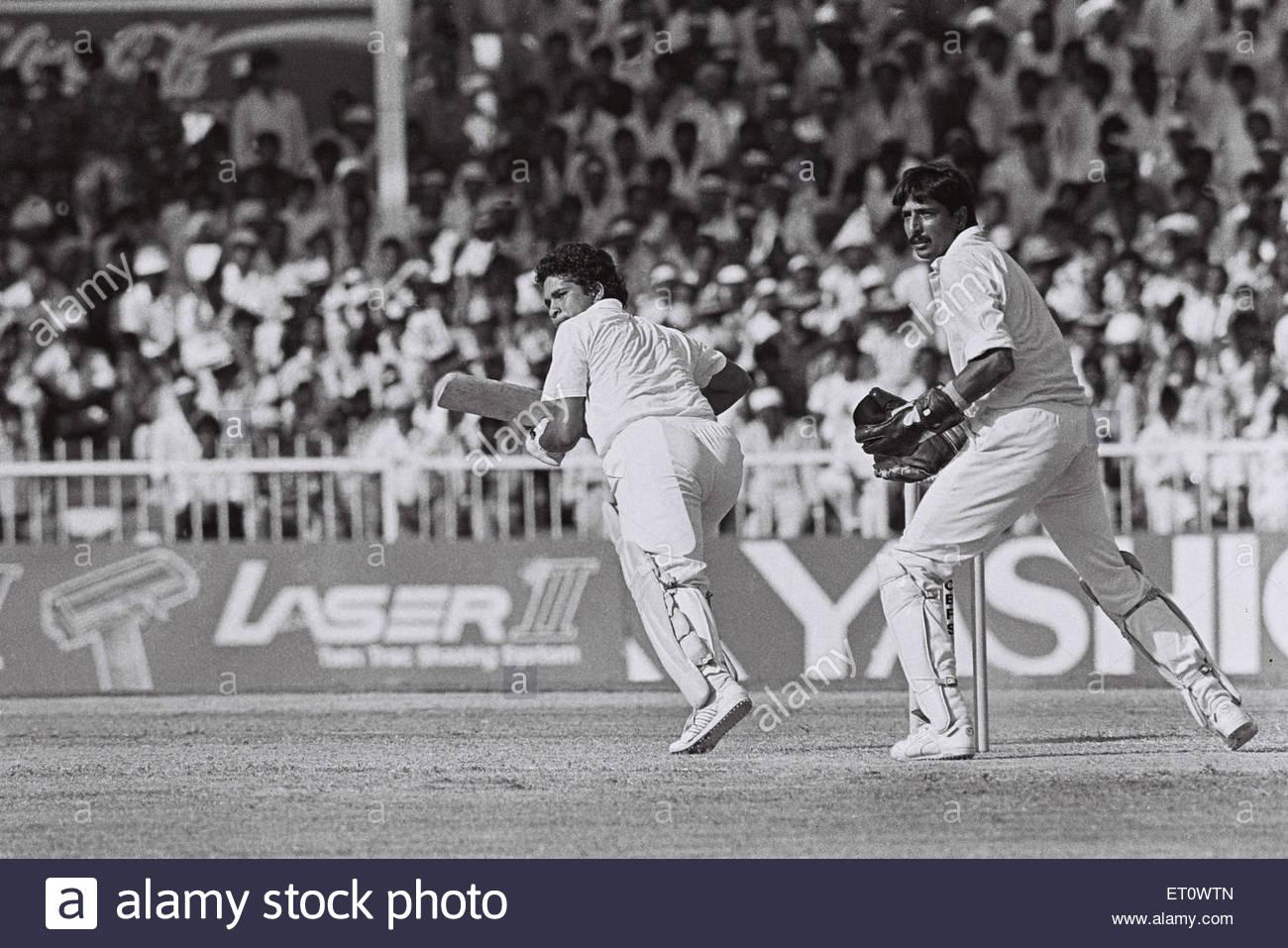 Sachem Medullar ; India versus Pakistan ; cricket match ; Sarah Cup 1990 NOMR - Stock Image