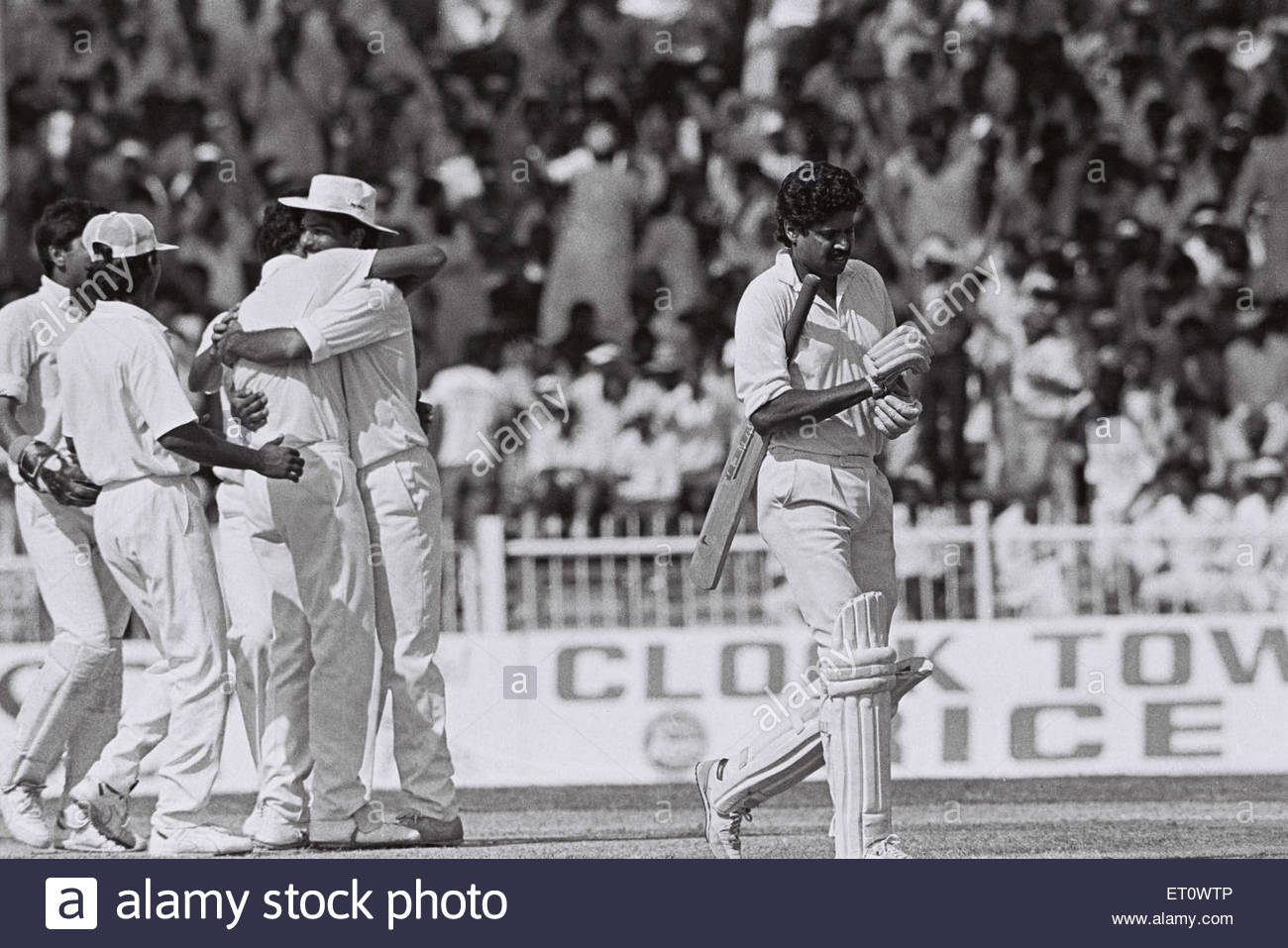 Kapil Dev ; India versus Pakistan ; cricket match ; Sharjah Cup 1990 - Stock Image