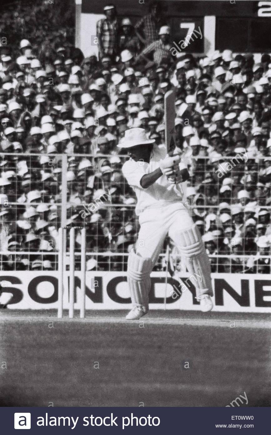 Sunil Gavaskar batting West Indies versus India cricket match 1979 Calcutta Kolkata India - nik 176158 - Stock Image