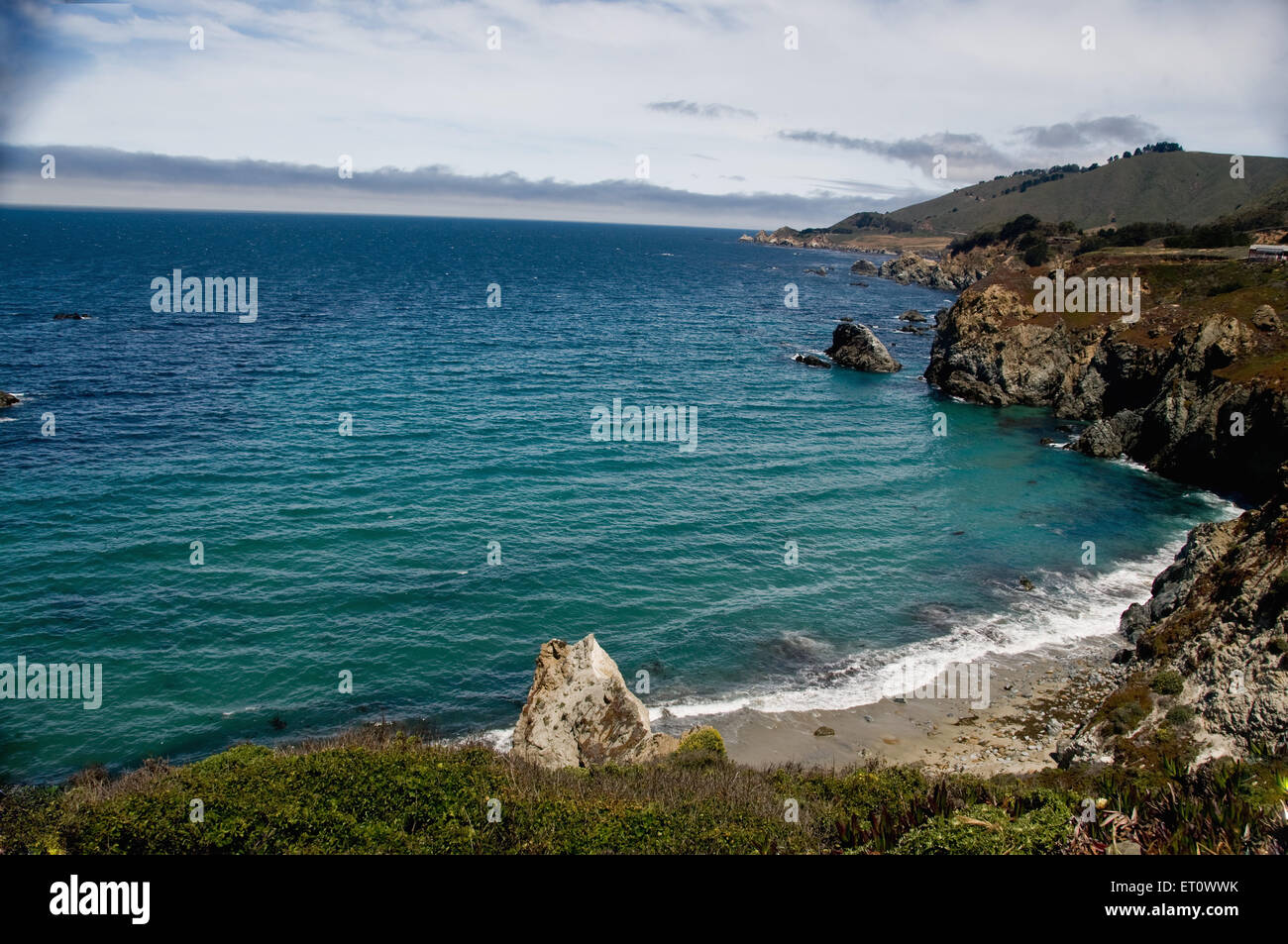 Seascape and rock at Palm beach ; California ; USA United States of America - Stock Image
