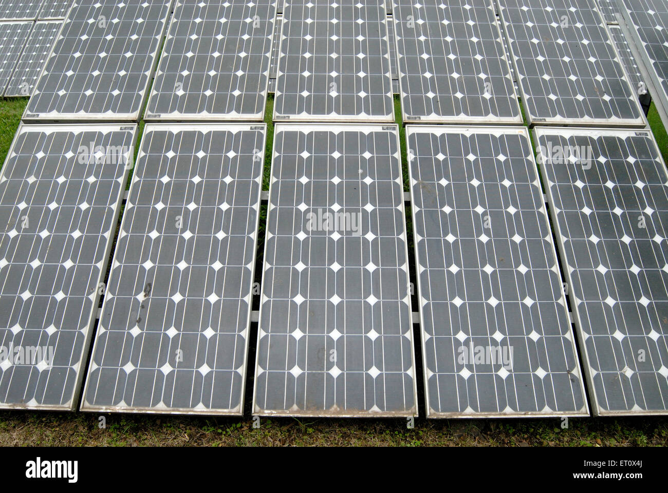 Unconventional power ; solar energy ; Photovoltaic cells at Peshawe energy park ; Pune ; Maharashtra ; India - Stock Image
