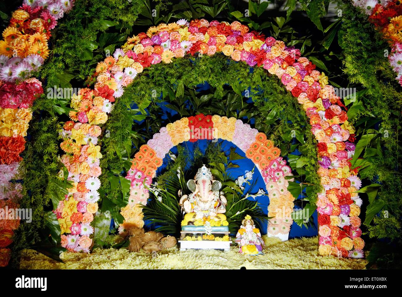 Home Decoration Statues Richly Decorated Two Idols Of Lord Ganesh Elephant Headed