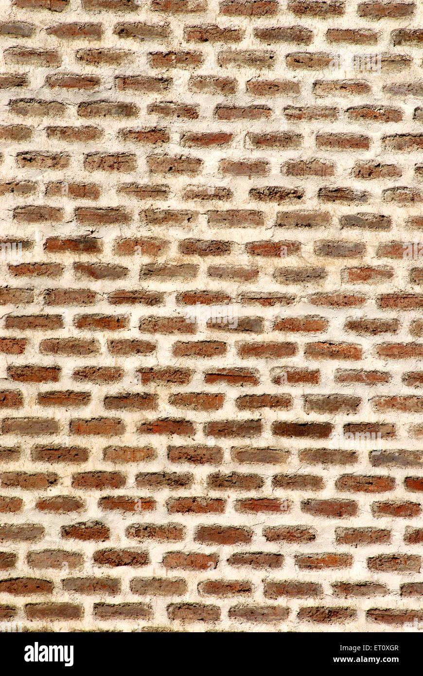 Neat and clean brickwork of external wall of Vishrambaug Wada second palace of Peshve the Maratha king ; Pune - Stock Image