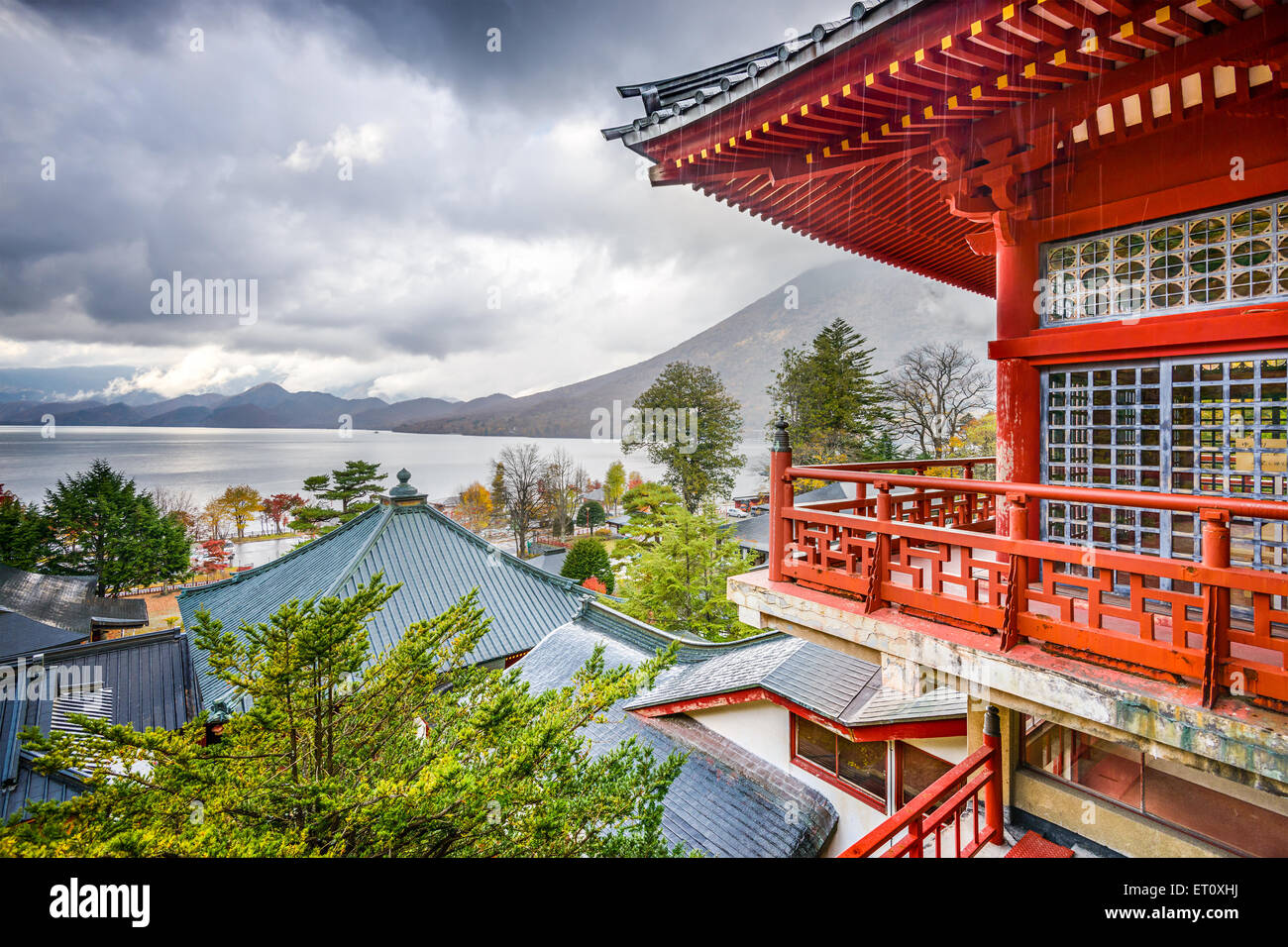 Nikko, Japan viewed in the autumn from Chuzen-ji Temple complex. - Stock Image