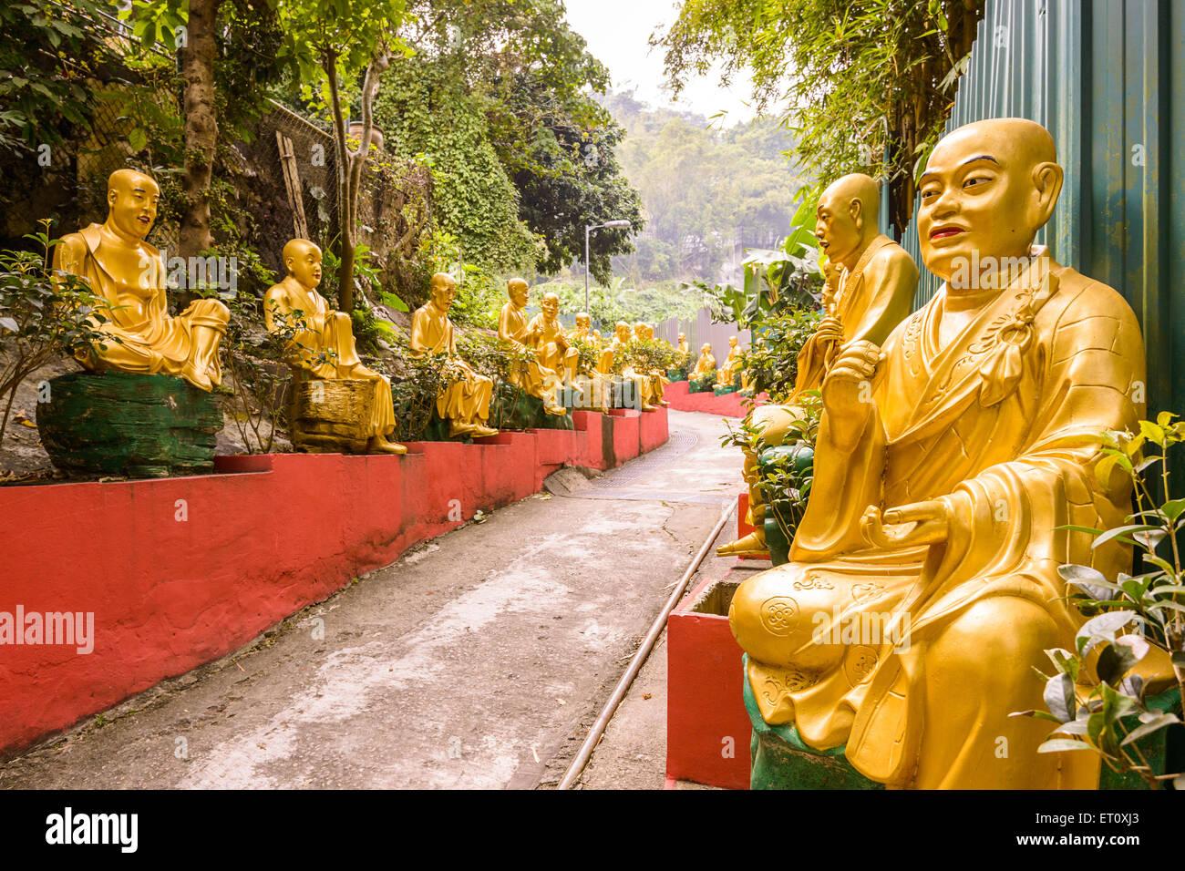 Statues at Ten Thousand Buddhas Monastery in Sha Tin, Hong Kong, China. - Stock Image