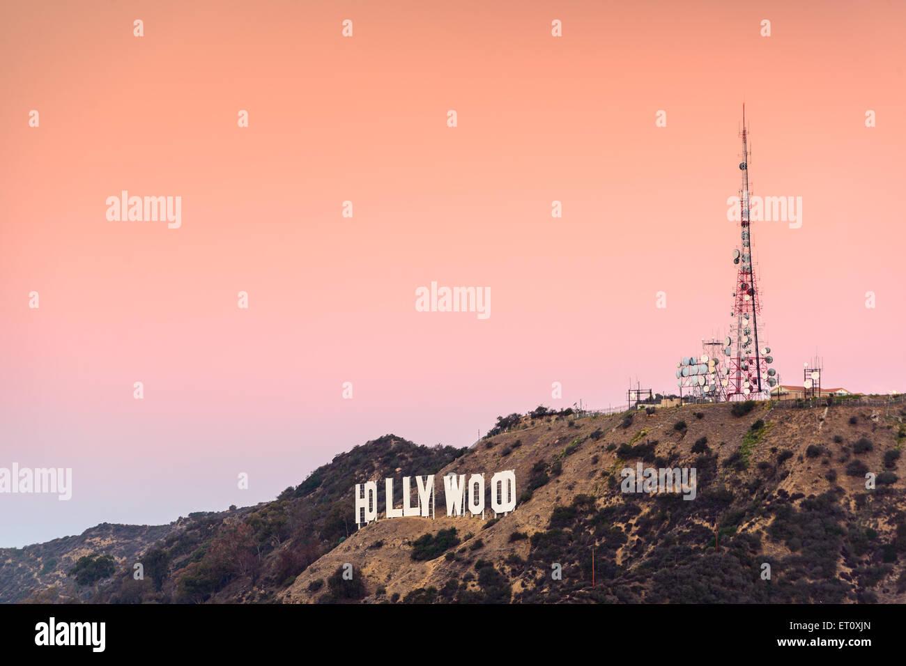 LOS ANGELES, CALIFORNIA - NOVEMBER 6, 2013: Hollywood sign in Los Angeles, California. The landmark sign dates from - Stock Image