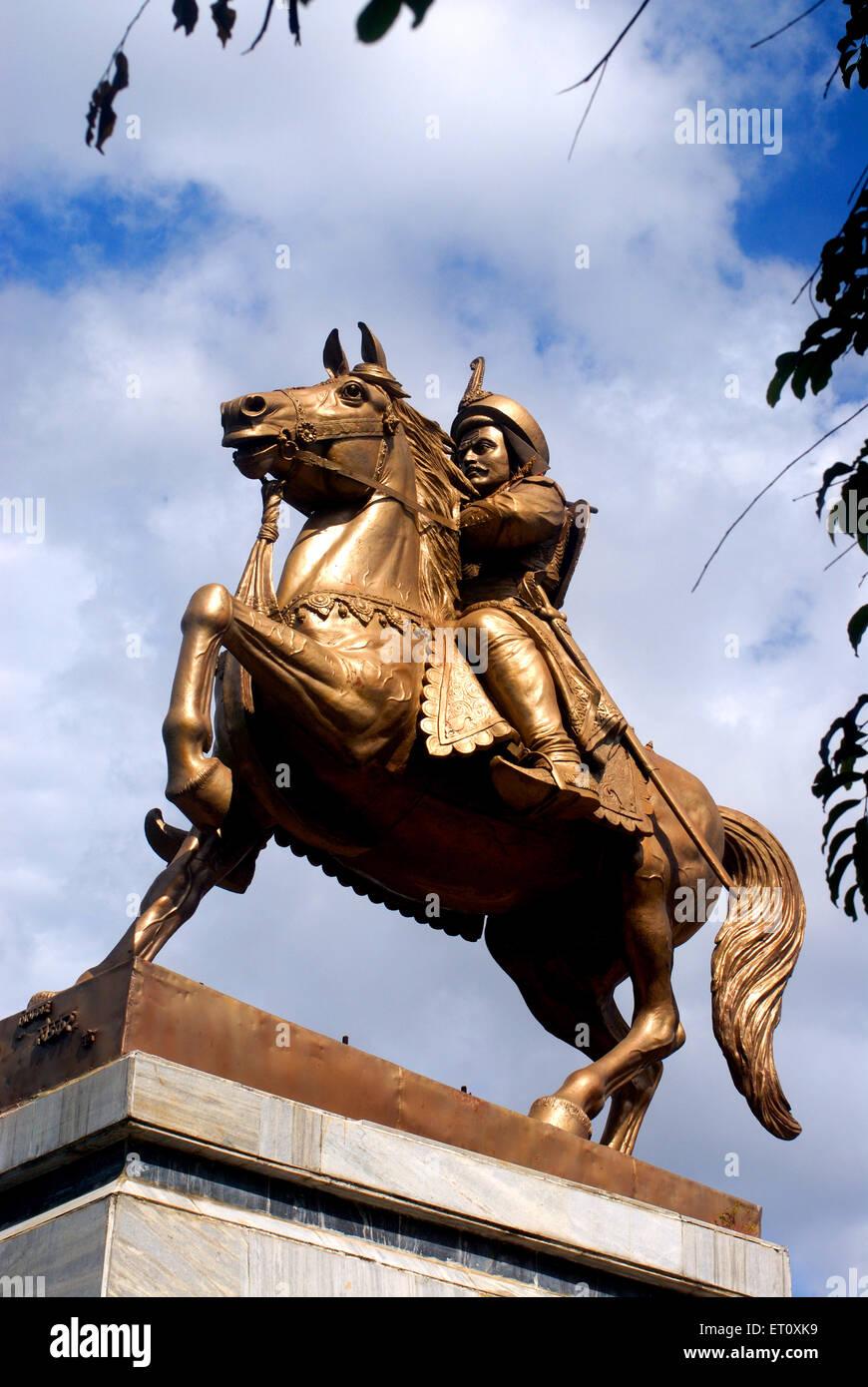 Equestrian bronze metal statue of thorale senior bajirao peshwa maratha ; Pune ; Maharashtra ; India - Stock Image