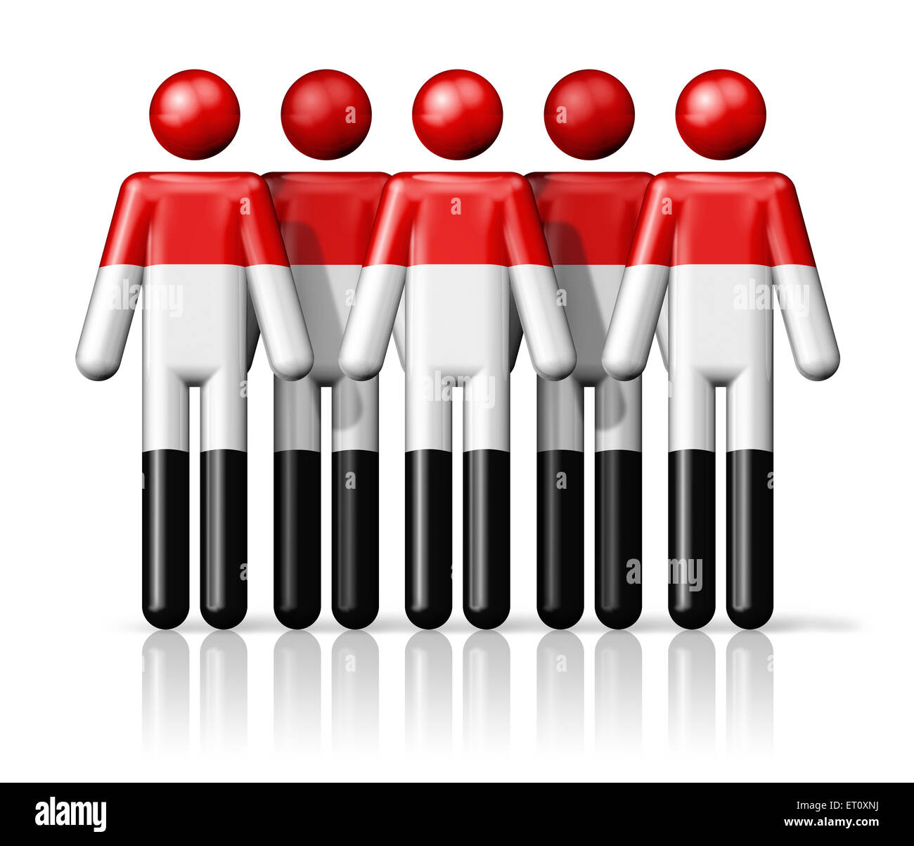 Flag of Yemen on stick figure - national and social community symbol 3D icon - Stock Image