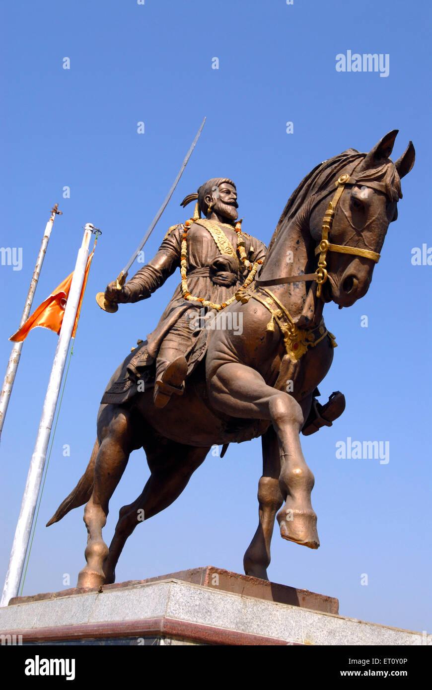 Equestrian bronze statue of Maratha King Shivaji Maharaj at Masunda lake or Talao Pali ; Thane ; Maharashtra ; India - Stock Image