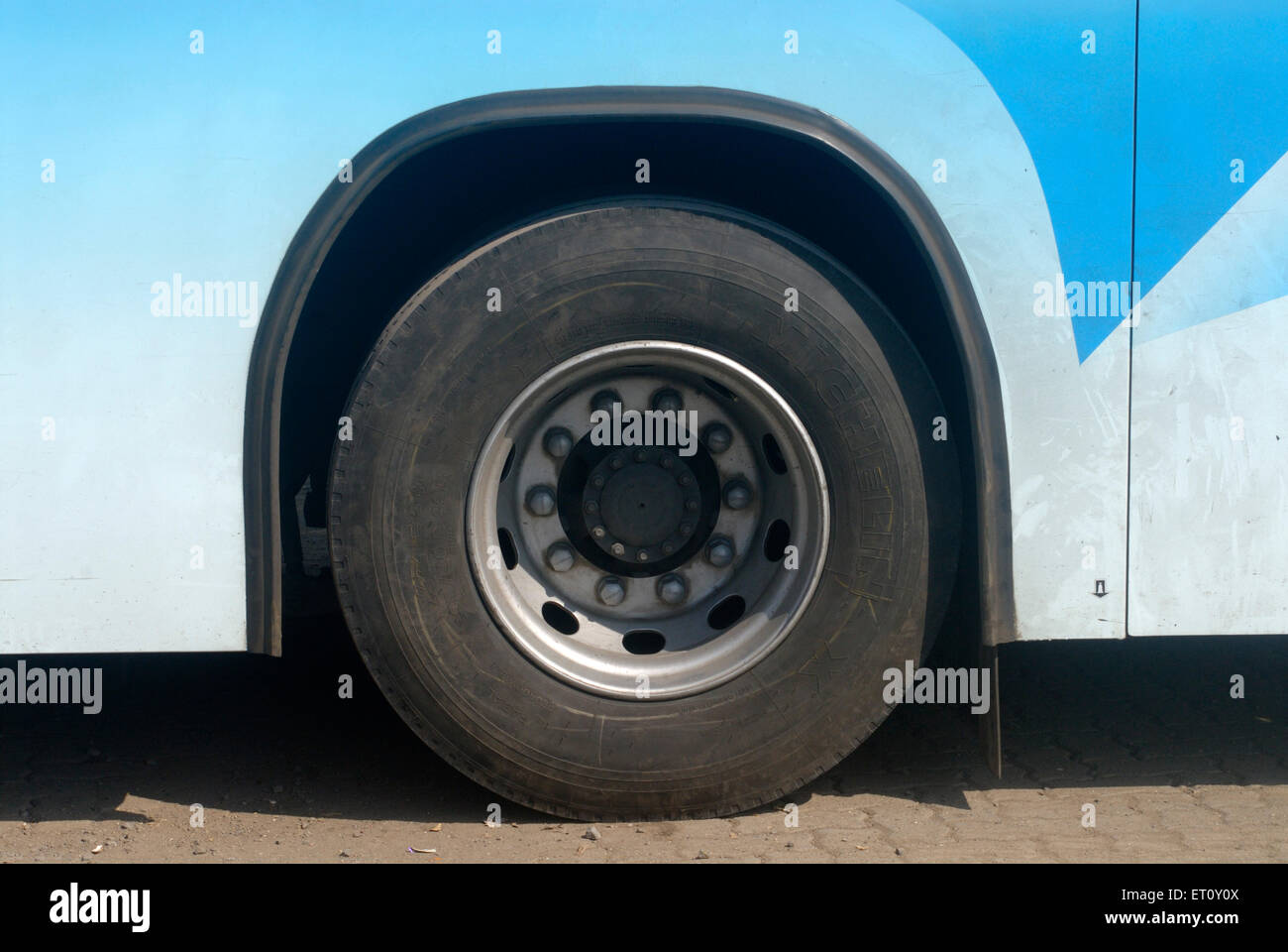 Close up of rear wheel of Volvo bus ; Maharashtra ; India - Stock Image