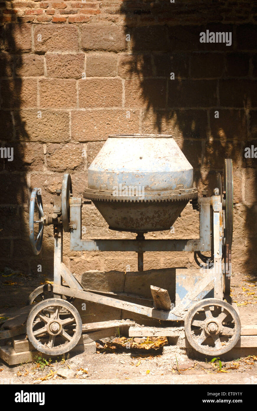 Small hand mixer of cement concrete ; Pune ; Maharashtra ; India - Stock Image