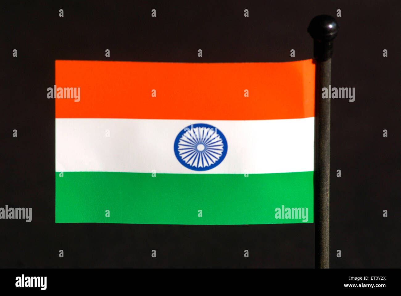 Close up of Indian tricolour ; national flag with blue Ashoka Chakra hoisted to pole ; paper material ; Borivali - Stock Image