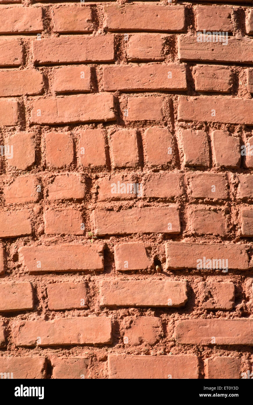 Brickwork of external wall ; Bassein Vasai District ; Thane ; Maharashtra ; India - Stock Image