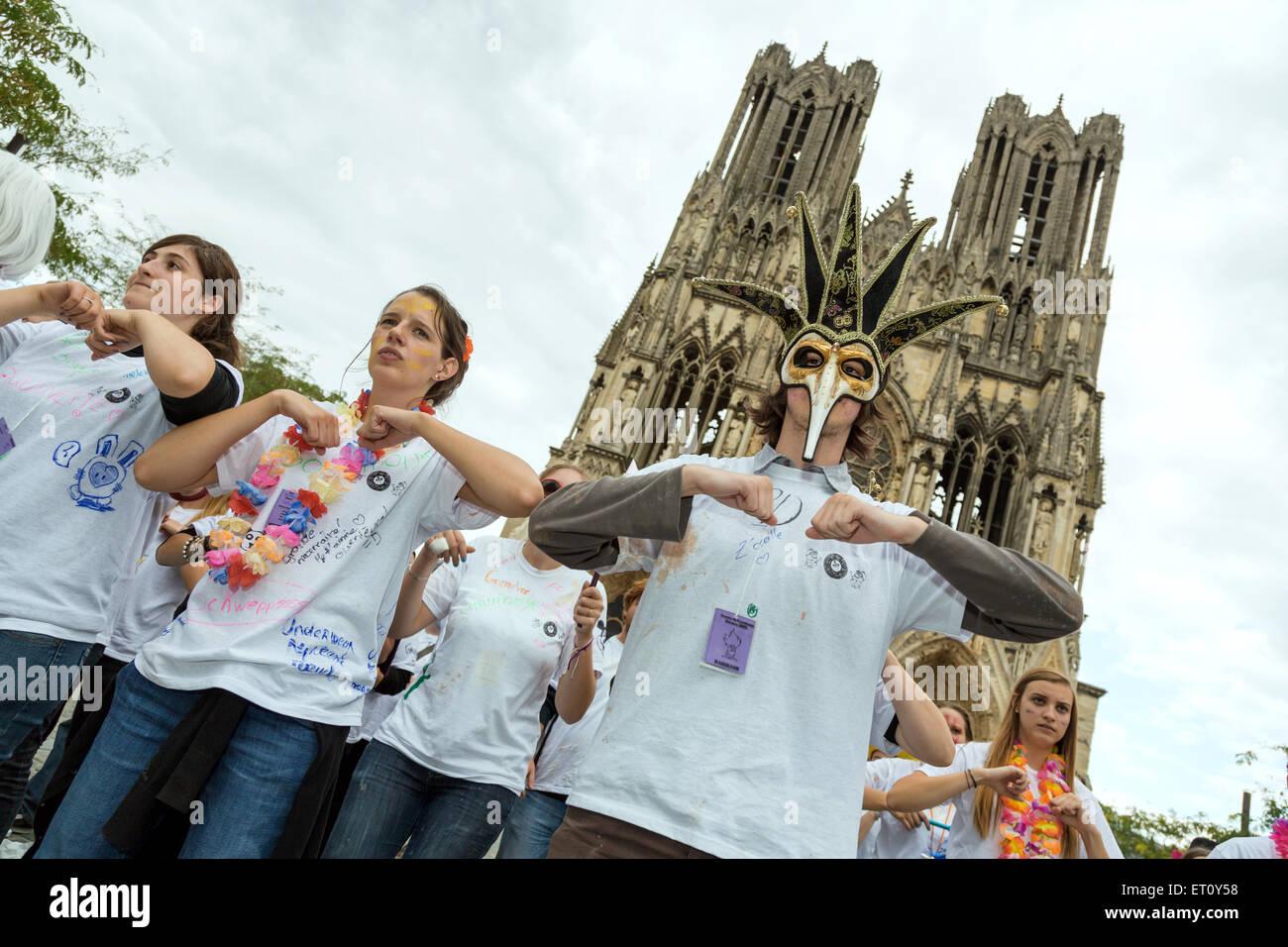 Reims, France, students celebrate the freshmen with the Journee de parrainage Stock Photo