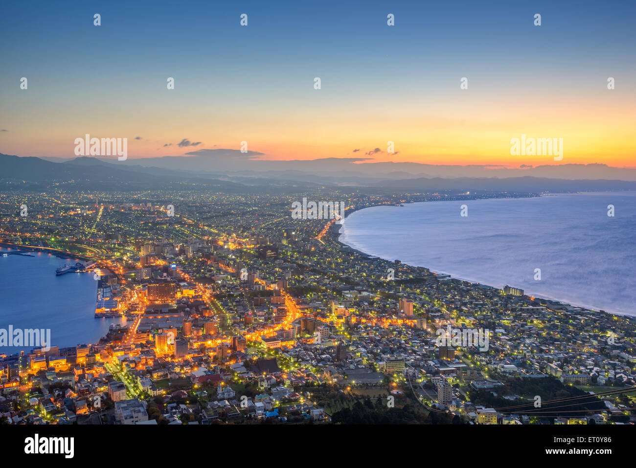 Hakodate, Hokkaido, Japan city skyline from Mt. Hakodate at dawn. - Stock Image