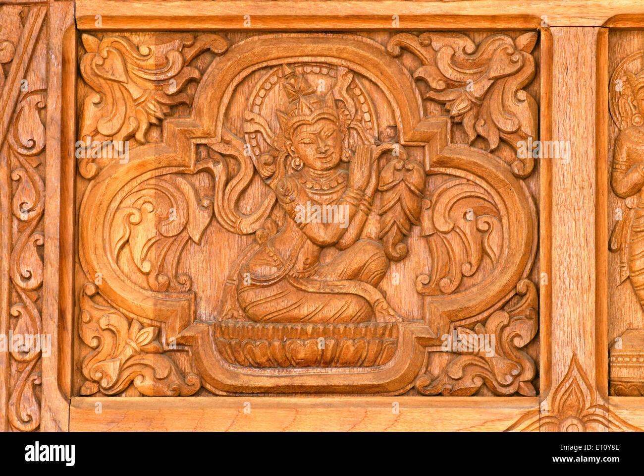 Human figure on panel of global vipassana pagoda ; Gorai ; Borivali ; Bombay Mumbai ; Maharashtra ; India Stock Photo