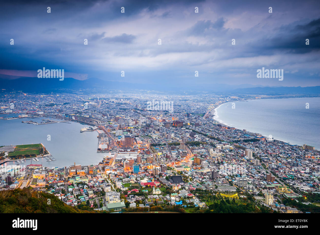 Hakodate, Hokkaido, Japan city skyline from Mt. Hakodate at dusk. - Stock Image