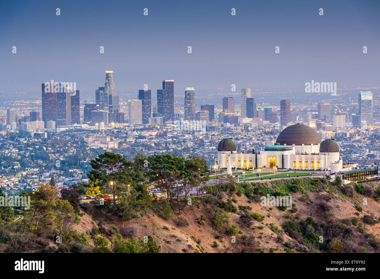 Los Angeles, California, USA downtown skyline from Griffith Park. - Stock Image