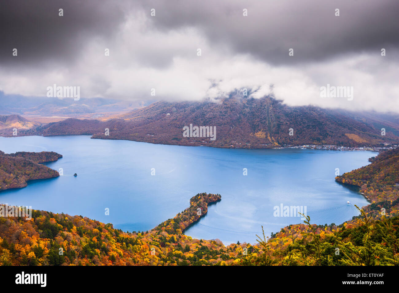 Nikko, Japan at Lake Chuzenji and Mt. Nantai in the autumn. - Stock Image